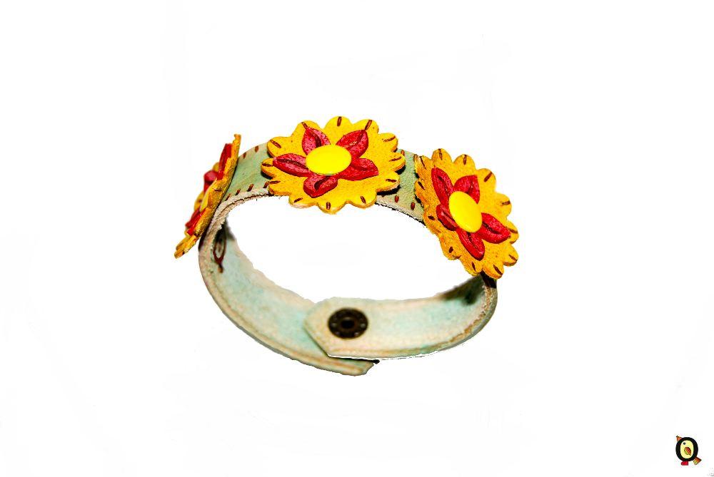 pulsera de piel Flores