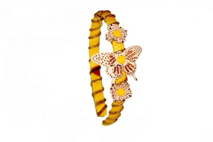 diadema de piel amarillo mariposa