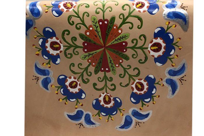 Bolso de piel pintado a mano Mosaico pintado a mano