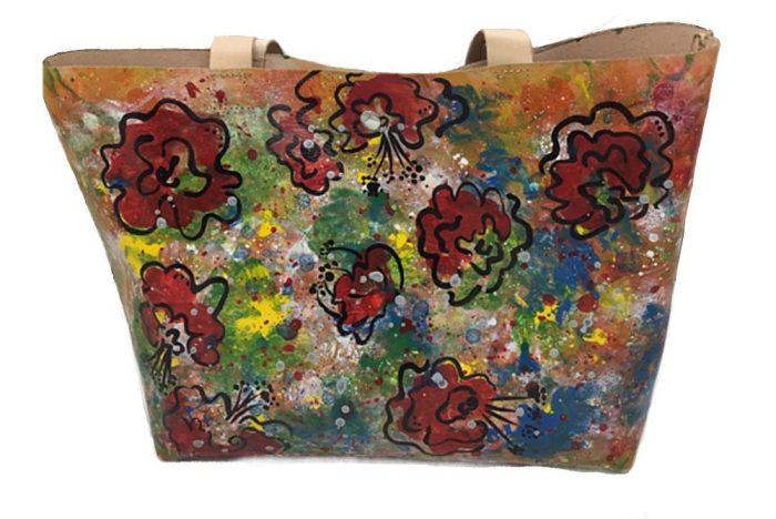 Bolso de piel Jardín de Flores pintado a mano