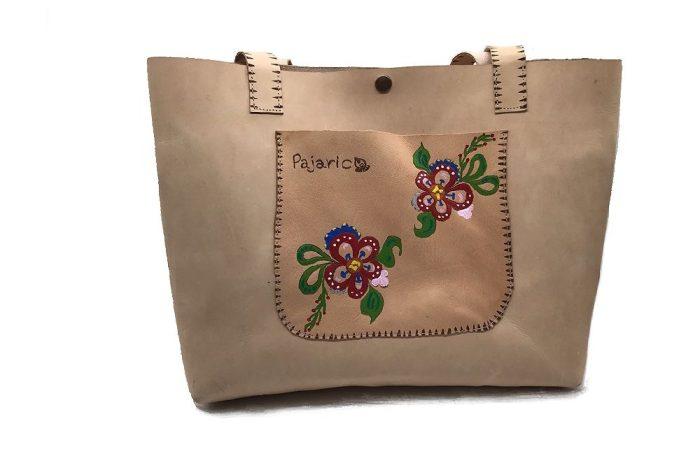 Bolso de piel con Flores pintado a mano
