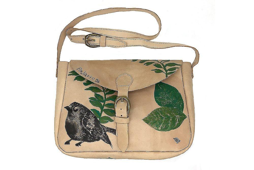 bolso de piel pintado